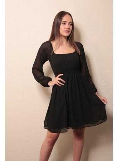 Reyon Kayık Yaka Elbise Siyah Siyah